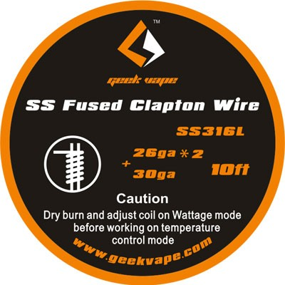 10ft GeekVape SS Fused Clapton TC Wire (26GA*2/Paralleled + 30GA)