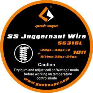 10ft GeekVape SS Juggernaut Wire, SS316L(28GA+38GA)x2+Ribbon